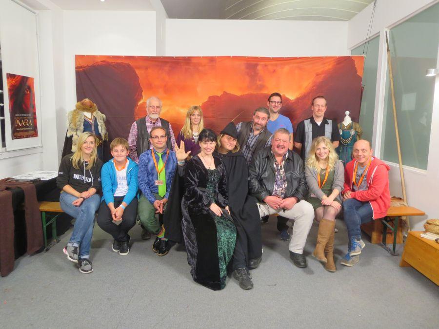 Florian, Tommy Krappweis und Sandra sowie die Crew von Mara und der Feuerbringer beim bummfilm event Oktober 2015